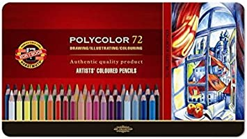 Koh-I-Noor Polycolor Artists/' Coloured Pencil Set in tin 24 colors *Free S//H.