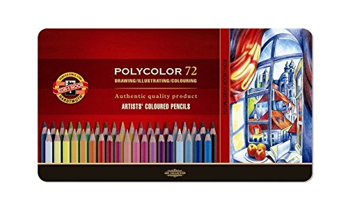 Koh-I-Noor Polycolor Drawing Pencil Set, 72 Assorted Colored Pencils in Tin, 1 Each (FA3827)