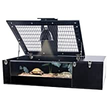 Penn-Plax Tortoise Palace with Wire Top, Black Frame and Glass Terrarium