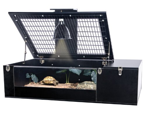 - Penn Plax Tortoise Palace with Wire Top, Black Frame and Glass Terrarium