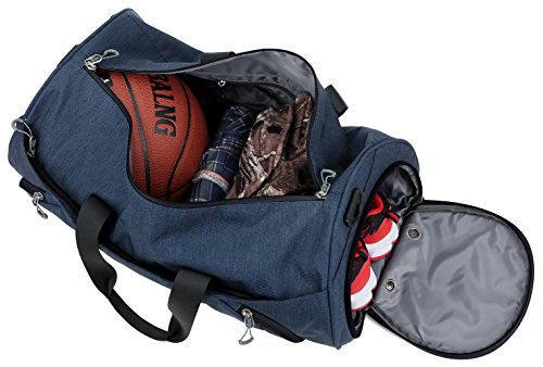 Gym Sports Small Duffel Bag for Men and Women with Shoes Compartment - Mouteenoo (Small, Blue/Black) by Mouteenoo (Image #7)