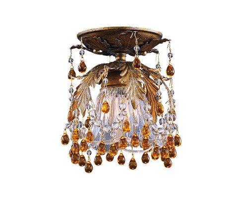 Melrose Crystal Semi Flush Mount Light Finish: Gold Leaf, Color Accents: Amber