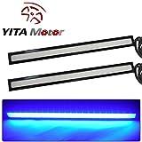 YITAMOTOR 2 pcs Set Waterproof Aluminum High Power 17CM 12V 6000K Xenon Slim COB LED DRL Daylight Driving Daytime Running Light Lamp For Car SUV Sedan Coupe Vehicle Universal (Blue)