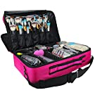 Samtour Professional Cosmetic Organizer Makeup Train Case 2 Layer Large Size Make Up Artist Box with Adjustable Shoulder for Makeup Brush Set Hair Style Nail Beauty Tool (Large, hot pink)