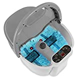 Hydro Therapy Foot Bath Massager - Heating Foot Spa with Deep Kneading Rolling Shiatsu Massage Ball, Brush, Stone - Automatic Roller, Vibration, Bubble, Digital Adjustable Temp - SereneLife SLFTSP18
