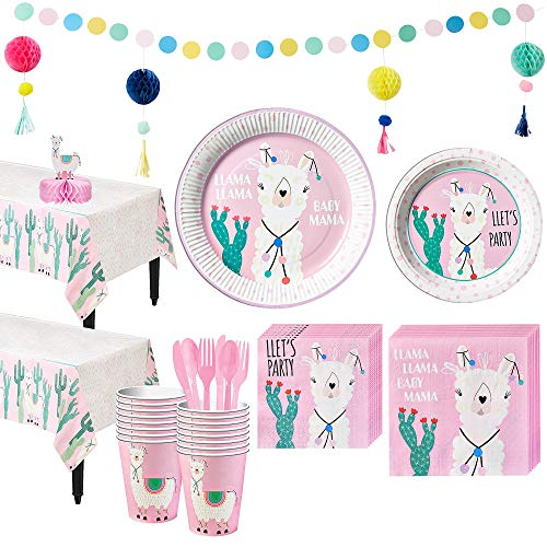 Party City Baby Llama Tableware Kit for 16