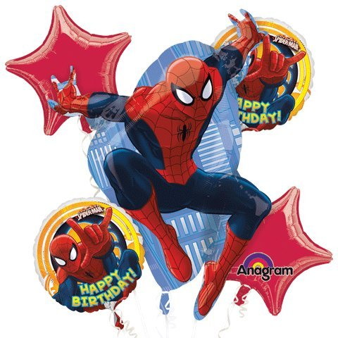 Spiderman Happy Birthday Balloon Bouquet Set (Happy Birthday Bouquet)