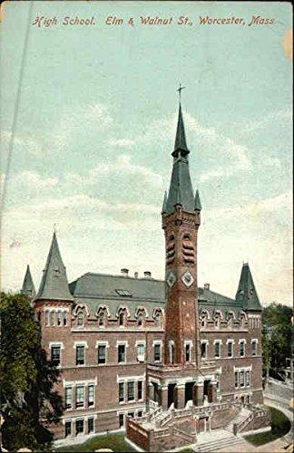 High School, Elm & Walnut St. Worcester, Massachusetts Original Vintage Postcard - Walnut Elm