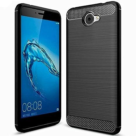 Funda Huawei Y7,Funda Huawei Nova Lite+,Carcasa Huawei Y7–KuGi Slim Soft Silicon Shockproof Caso de lujo con cubierta de textura de fibra de carbono ...