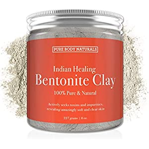Pure Bentonite Powder for DIY Detox Bath & Face Mask, Pure Indian Healing Clay for Burns, Mastitis, Inflamed or Chapped Skin (8.8 oz) - Pure Body Naturals 65