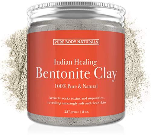 Pure Bentonite Powder for DIY Detox Bath & Face Mask, Pure Indian Healing Clay for Burns, Mastitis, Inflamed or Chapped Skin (8.8 oz) - Pure Body Naturals (Bentonite Powder Clay)