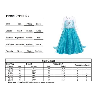 WonderBabe Princess Costume for Girls Snow Dress Up Birthday Party Halloween Cosplay Role Play Outfits: Clothing