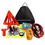 Car Emergency Kit,Pesters Multifunctional 24 in 1 Roadside Assistance Car Safety Kit with Jumper Cables,Jumper Cables,Triangle,Flashlight,Tire Pressure Gauges,Safety Hammer etc