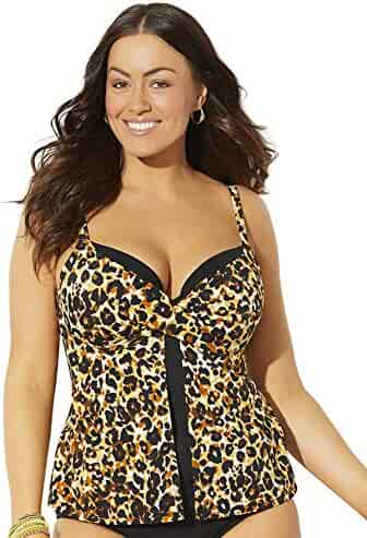 e306aa882f Swimsuits for All Women's Plus Size Faux Flyaway Underwire Tankini Top