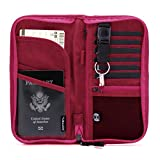 Zoppen RFID Travel Wallet & Documents Organizer Zipper Case, Family Passports Holder with Removable Wristlet Strap, Pink Yarrow