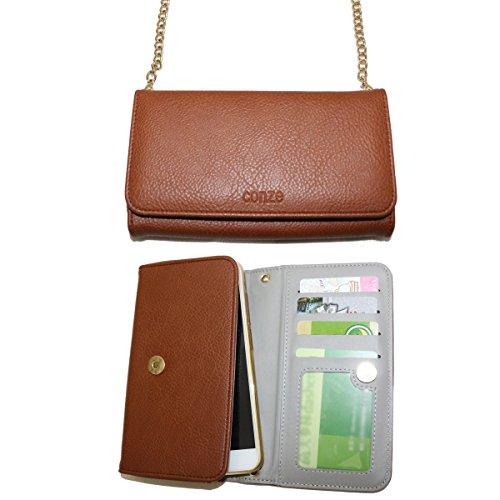 Conze moda teléfono celular Llevar bolsa pequeña con Cruz cuerpo correa para Apple Iphone 7/Plus, ASUS Zenfone 2Deluxe zs570kl/5,5zs550kl, Acer Liquid Z6Plus, Blackberry dtek60/Aurora/Keyone verde  marrón