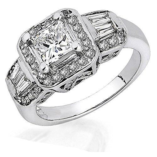 6 Diamond Baguette Stone Ring - 1.15 Carat (ctw) 14K White Gold Princess Round & Baguette Cut Diamond 3 Stone Ladies Engagement Ring Center 0.75 CT (Size 6)
