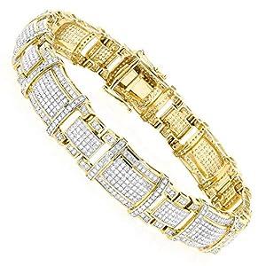 Mens 10k Rose, White or Yellow Gold Real Diamond Bracelet 4ctw (Yellow Gold)
