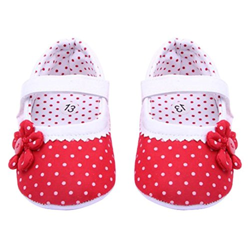 Crib Shoes,Kimanli Summer Baby Girls Flower Soft Sole Toddler PU Leather Shoes (0-6 Months, Red)