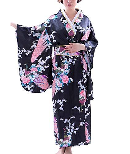 Botanmu Women's Kimono Robe Japanese Dress Photography Cosplay Costume 5 Colors (Black) ()