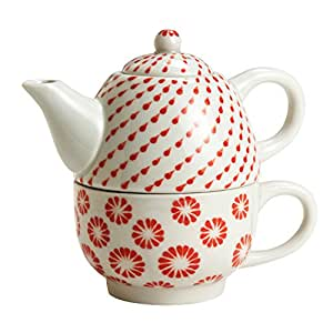 White And Red Ceramic Tea Pot 'Every Weather Tea Set'