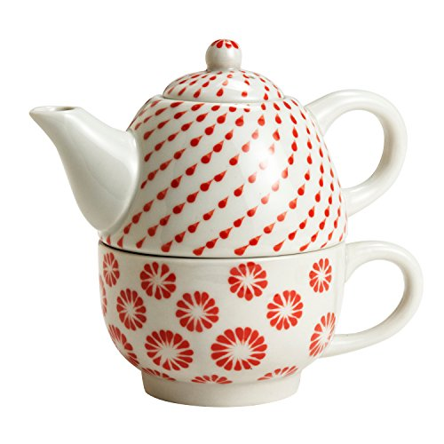 Ivory And Red Ceramic Stacked Teapot And Cup 'Every Weather Tea Set'