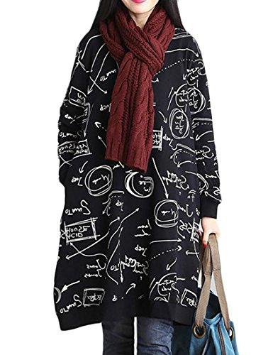 Cruiize Occasionnel Des Femmes De Lin Imprimé Ajustement Lâche Halloween Noir Long Robe Manches