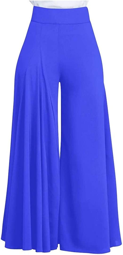 YAXINHE Womens Solid Colored With Pocket Elegant Fashion Ruched Wide Leg Pants