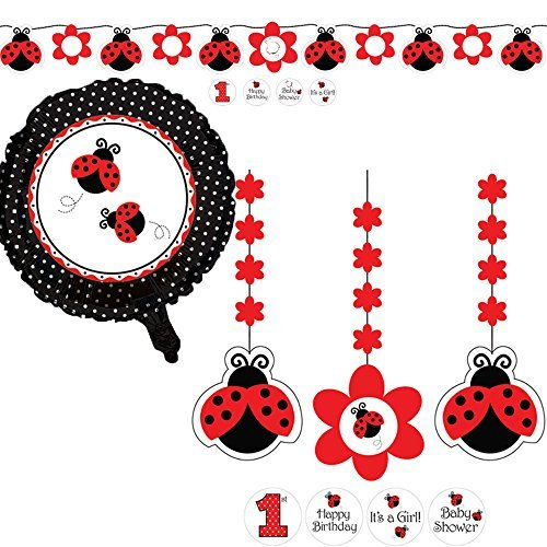 Creative Converting Ladybug Fancy Party Supplies Pack Including Hanging Cutouts, Ribbon Banner, and Metallic Balloon