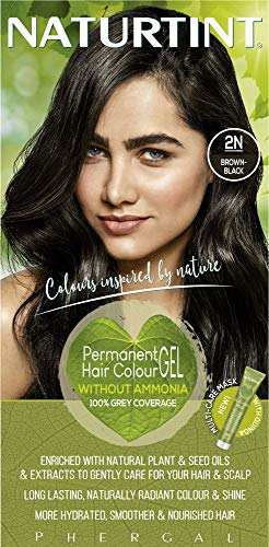 Naturtint Permanent Hair Color 2N Brown Black Plant Enriched Ammonia Free Long Lasting Gray Coverage and Radiante Color Nourishment and Protection
