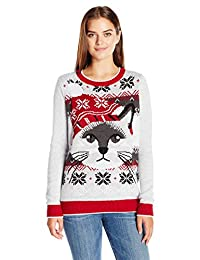 Ugly Christmas Sweater Womens Light-up Cat Face