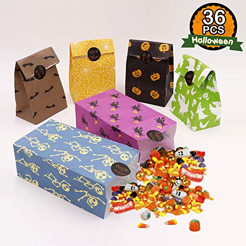 OurWarm 36pcs Halloween Party Treat Bags Halloween Paper Trick or Treat Bags with Sticker for Kids Birthday Halloween Party Decorations -