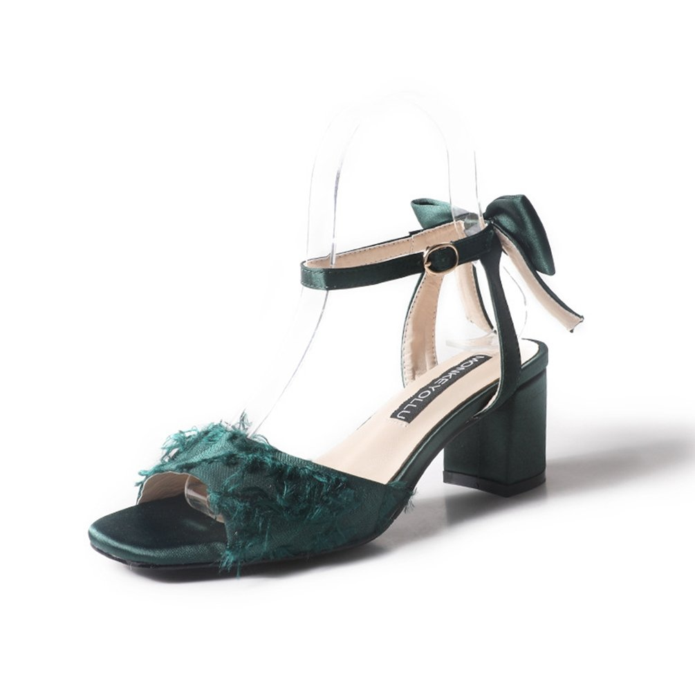 Femmes Sandales Femmes à Talons Sandales Hauts Hauts Chaussures Toiles Nœud Élégant Talon Carré Bout Ouvert Sandale Vert 7309f5d - deadsea.space