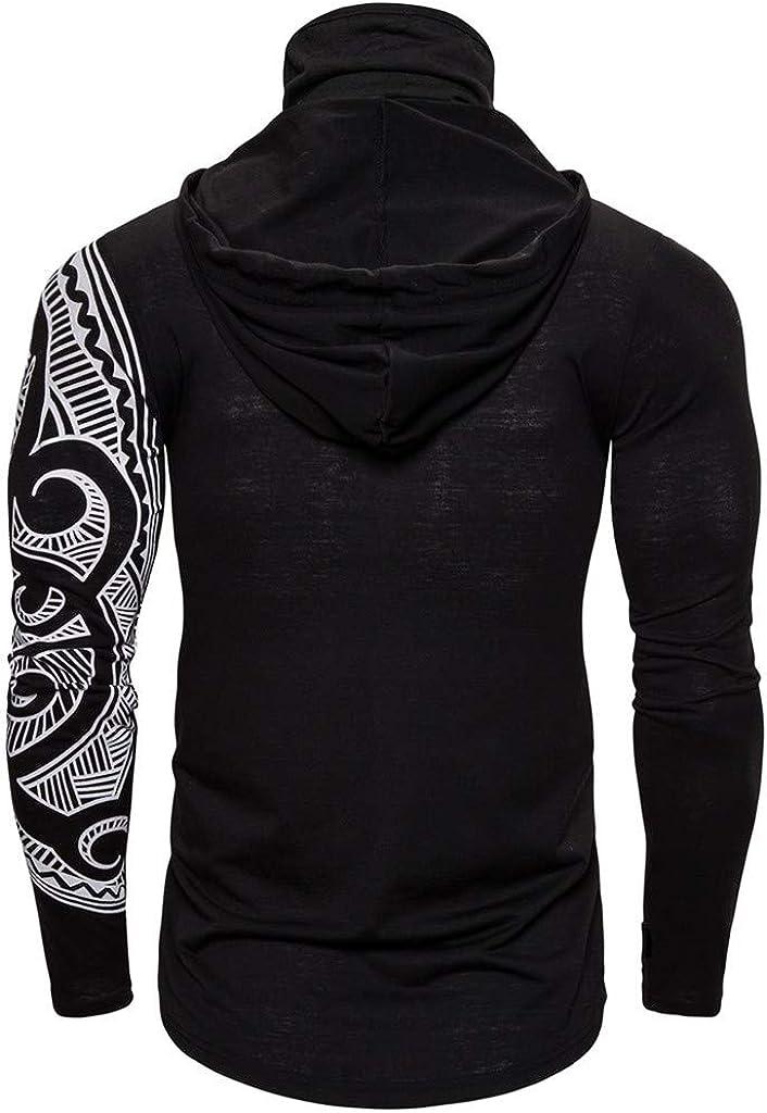 GDJGTA Mens Hoodie Skull Mask Print Pullover Long Sleeve Hooded Drawstring Sweatshirt Tops Blouse