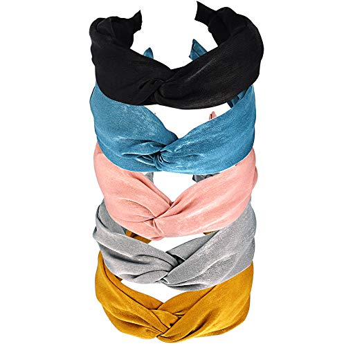 (5 Pcs Hogoo Fashion Solid Color Hair Hoop Headbands Cross Knotted Bow Hair Accessories for Women Girls)