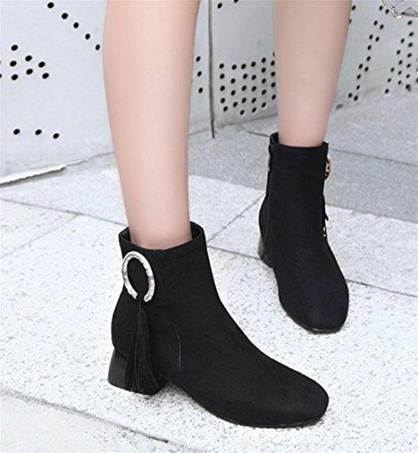 black Womens HETAO Retro de Chaussures Elastic Shoes Ladies Heel Block Tempérament Talons personnalité Low Chaussures Bottines Fashion Élégantes Mid UBxtgwUrq