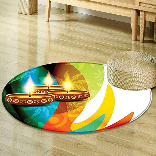 - Round Rug Kid Carpet Diwali Decor Modern Rainbow Colored Detailed Paisley Decor with Festive Candle Art Print Multicolored Home Decor Foor Carpe R-47