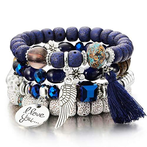 Bangle Stretch Bracelet Beaded (Meangel Beaded Bracelet for Women Girls Multilayer Bohemian Strand Bangle Charm Stretch Bracelet Beach Boho Jewelry)