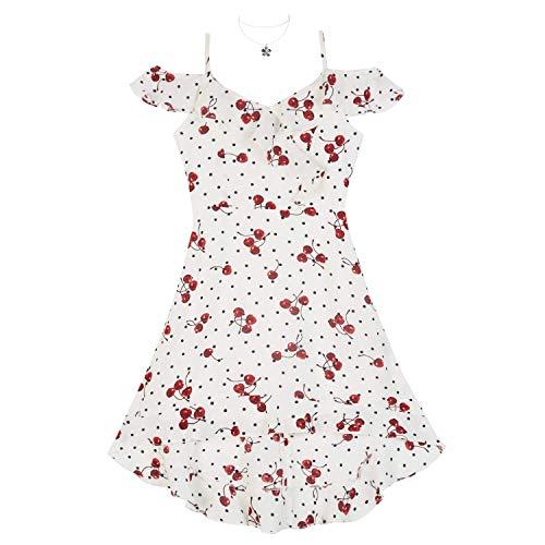 Amy Byer Girls' Big High-Low Cold Shoulder Dress, Ivory Cherry Polka Dots, 8