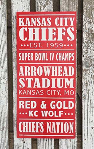 PotteLove Kansas City Chiefs Wood Sign Hand Football Sign Man Cave Decor Game Room Sign Chief's Nation Missouri Decor Kc Chiefs