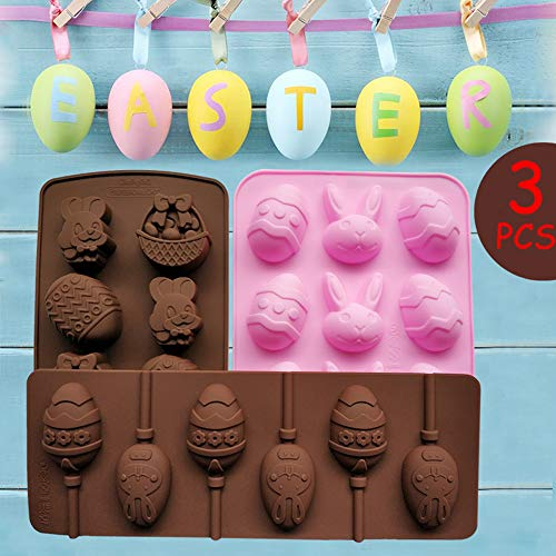 3pcs Easter Silicone Bunny Egg Candy Molds with 40 Lollipop Sticks for Chocolate Gummies or Fondant