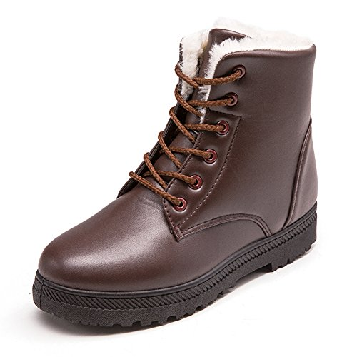 NOT100 Womens Snow Boots for Winter Ankle Boots Combat Walking Shoes Booties Brown tan Taupe Size 6.5 6 1/2