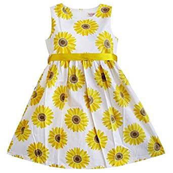 Sunny Fashion Big Girls Dress Sunflower School Party, Yellow, 9-10