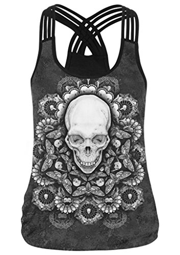 Pretty321 Women Girl Cute 3D Lovely Camis Shirt Slim Fit Tank Tops Vest Collection Skull Head Flower Black