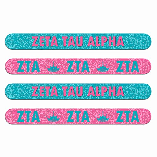 Zeta Tau Alpha Nail File (4pk)—Medium & Fine Grit. Durable design. Art stays true with use. Sorority gifts for Big Little Sister, Bid Day, gift baskets, stocking stuffers—by (Sorority Bid Day)