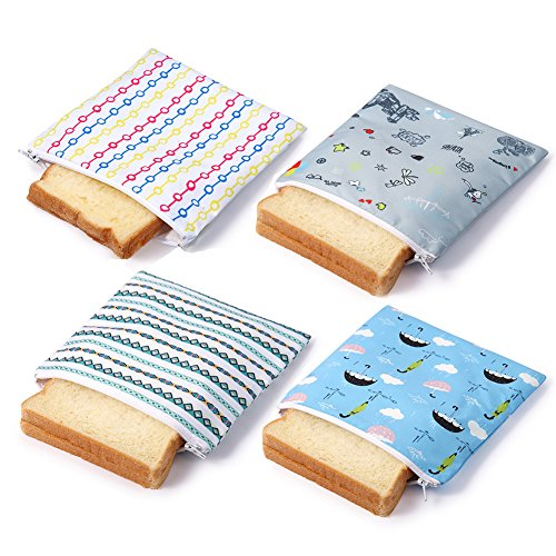 Reusable Sandwich Bags Snack Bag Zippered Lunch Baggies for Kids Eco-Friendly(4 Pack House)