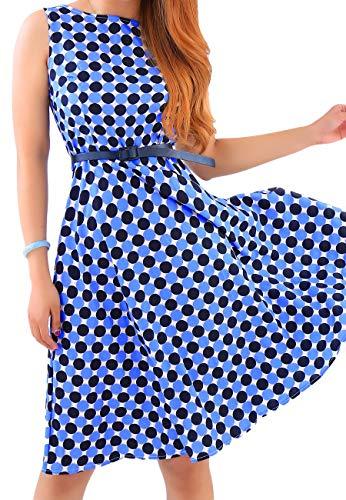 Stile Marca Al Di Bolawoo Girocollo Senza Vintage Stampato In Abito Elegante Blau03 Mode Spalline Maniche Floreale Donna Ginocchio 77 Trendy Da 76ygbfvY