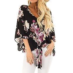 Luca Womens Casual Floral Print Half Sleeve Chiffon T Shirts Blouses Tank Tops Black