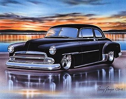 1951 Chevy Styleline 2 Door Sedan Hot Rod Car Art Print Black 11x14 Poster