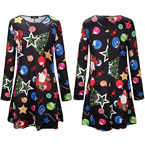 MLMM 2019 Christmas Lucky Star Ice Snow Ball Print Parent-Child Dress Black 1 ()